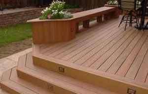 Freshly stained outdoor wooden deck