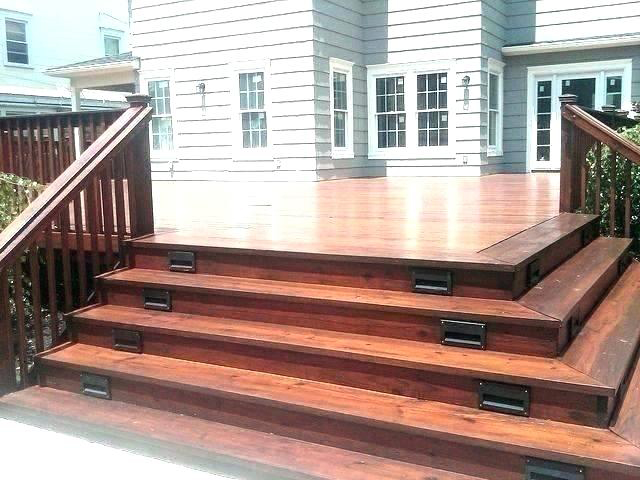 Beutiful large brown wooden deck after being treated and stained